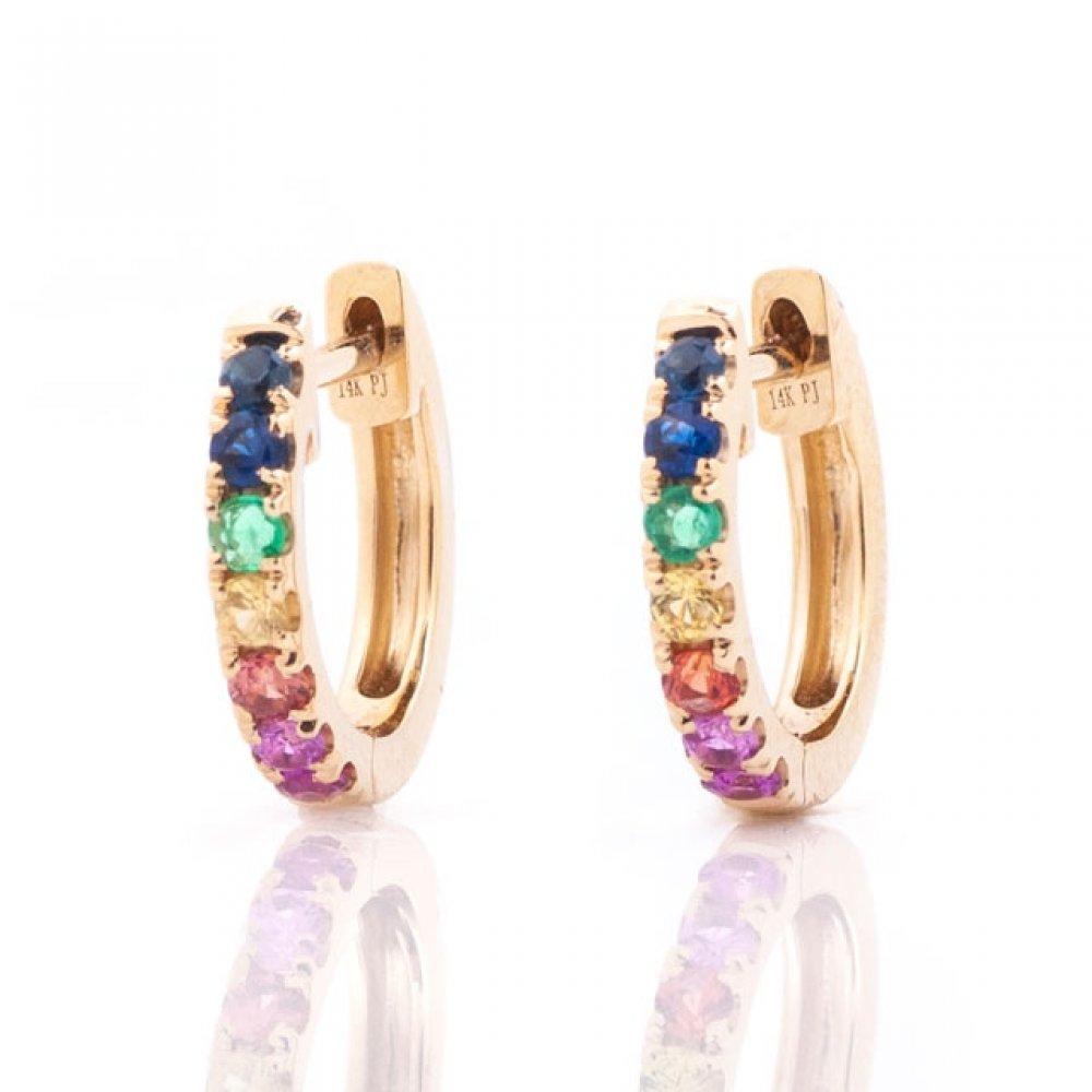 Rainbow Gemstone Huggie Hoops