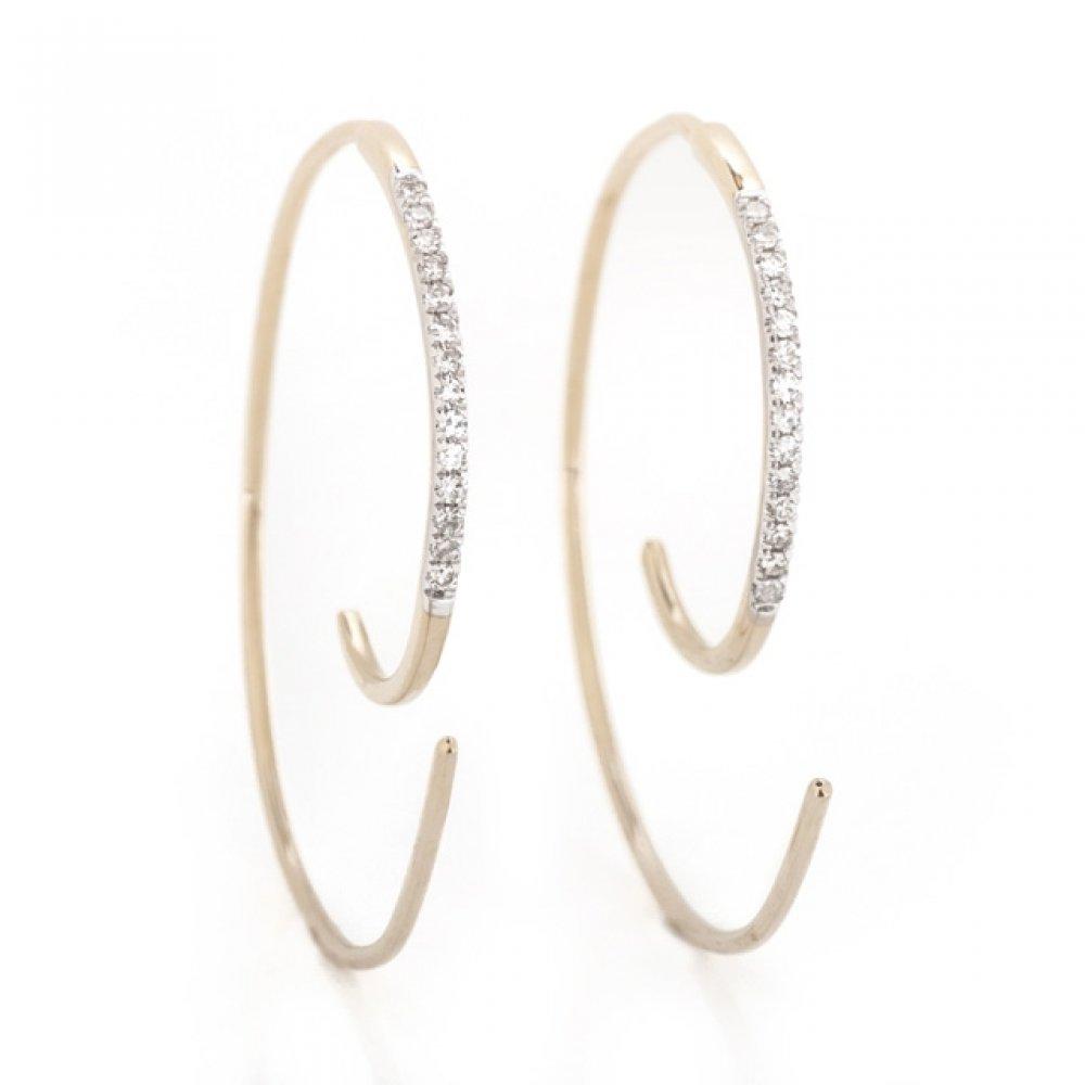 Thin Spiral Diamond Earrings