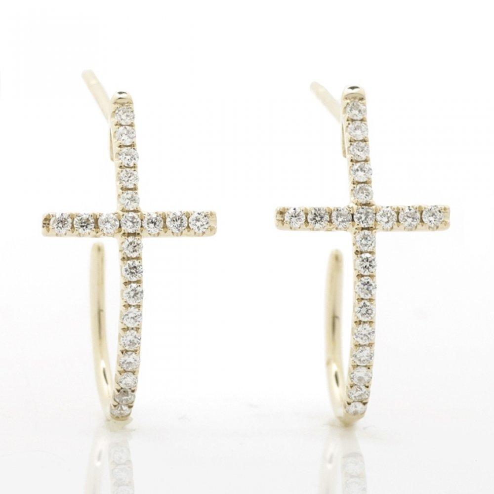 Curved Cross Diamond Hoop Earrings