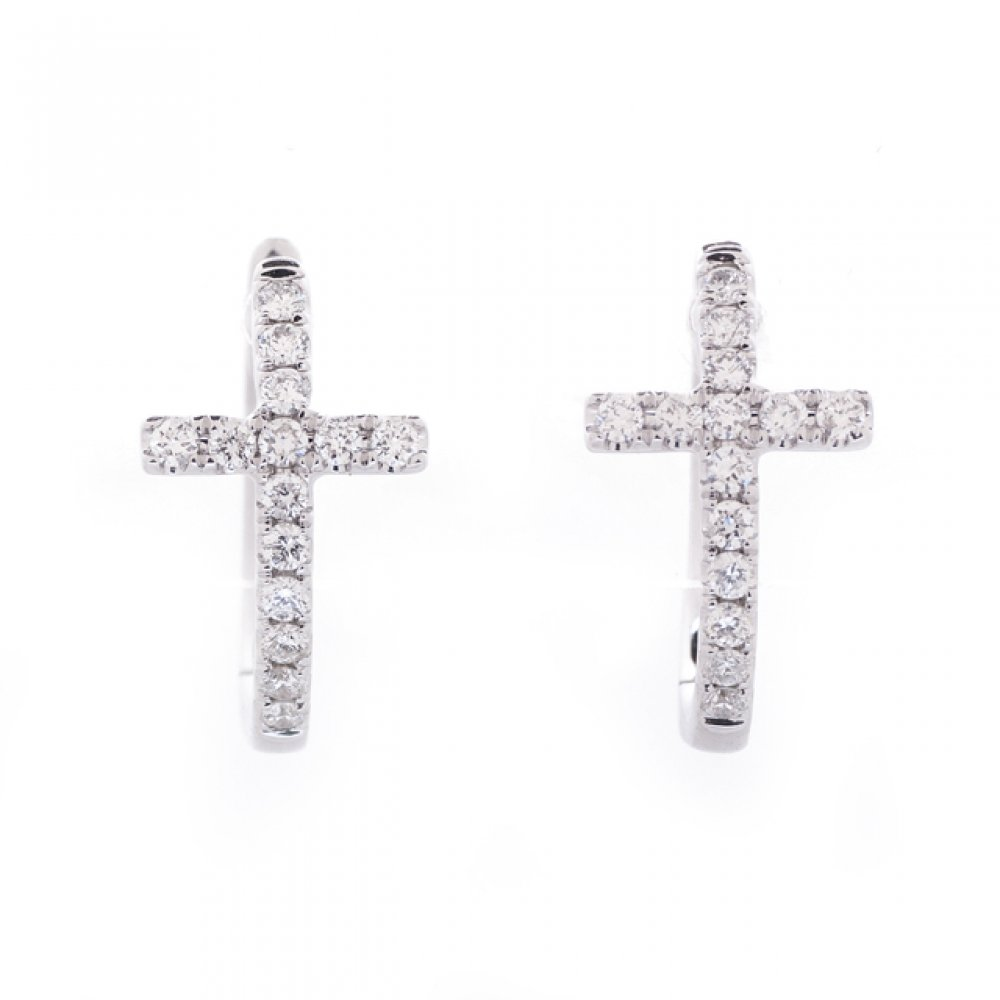Diamond Cross Huggie Hoops