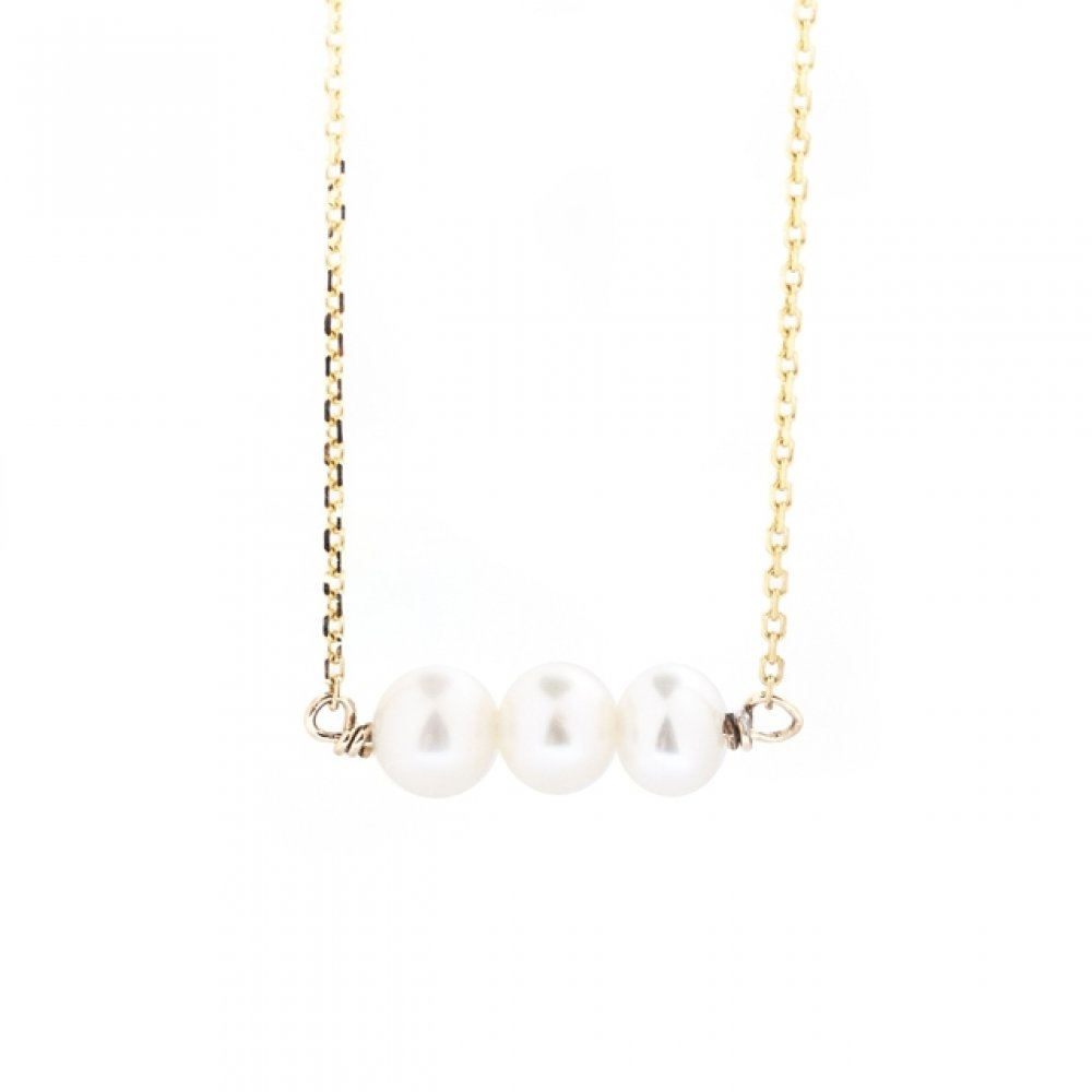 Triple Pearl East West Necklace