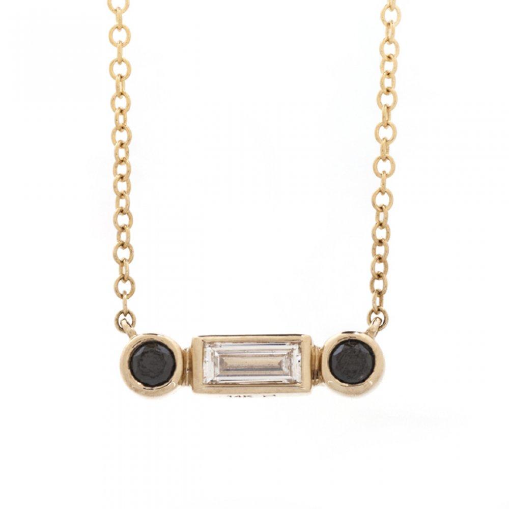 3-Stone Baguette White & Round Black Diamond Necklace