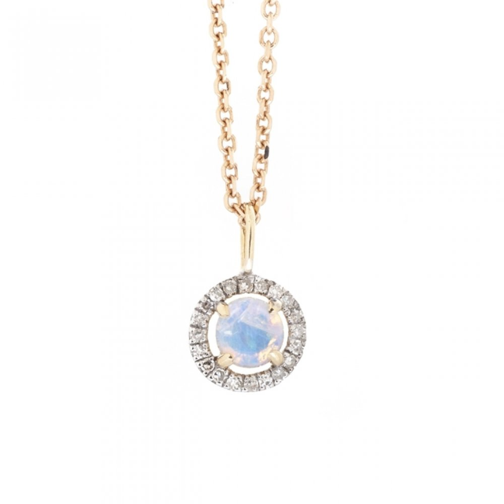 Opal & Diamond Halo Pendant