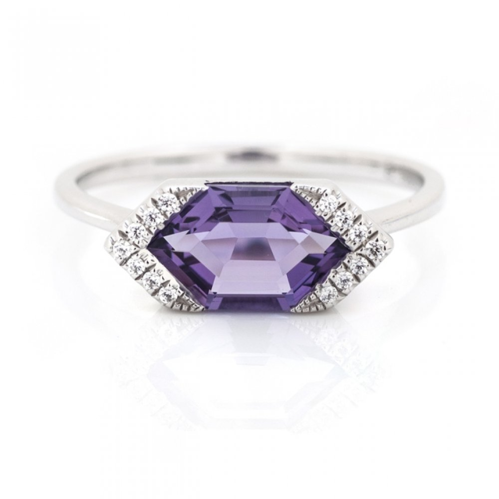 Fancy-Cut Color Stone and Diamond Ring