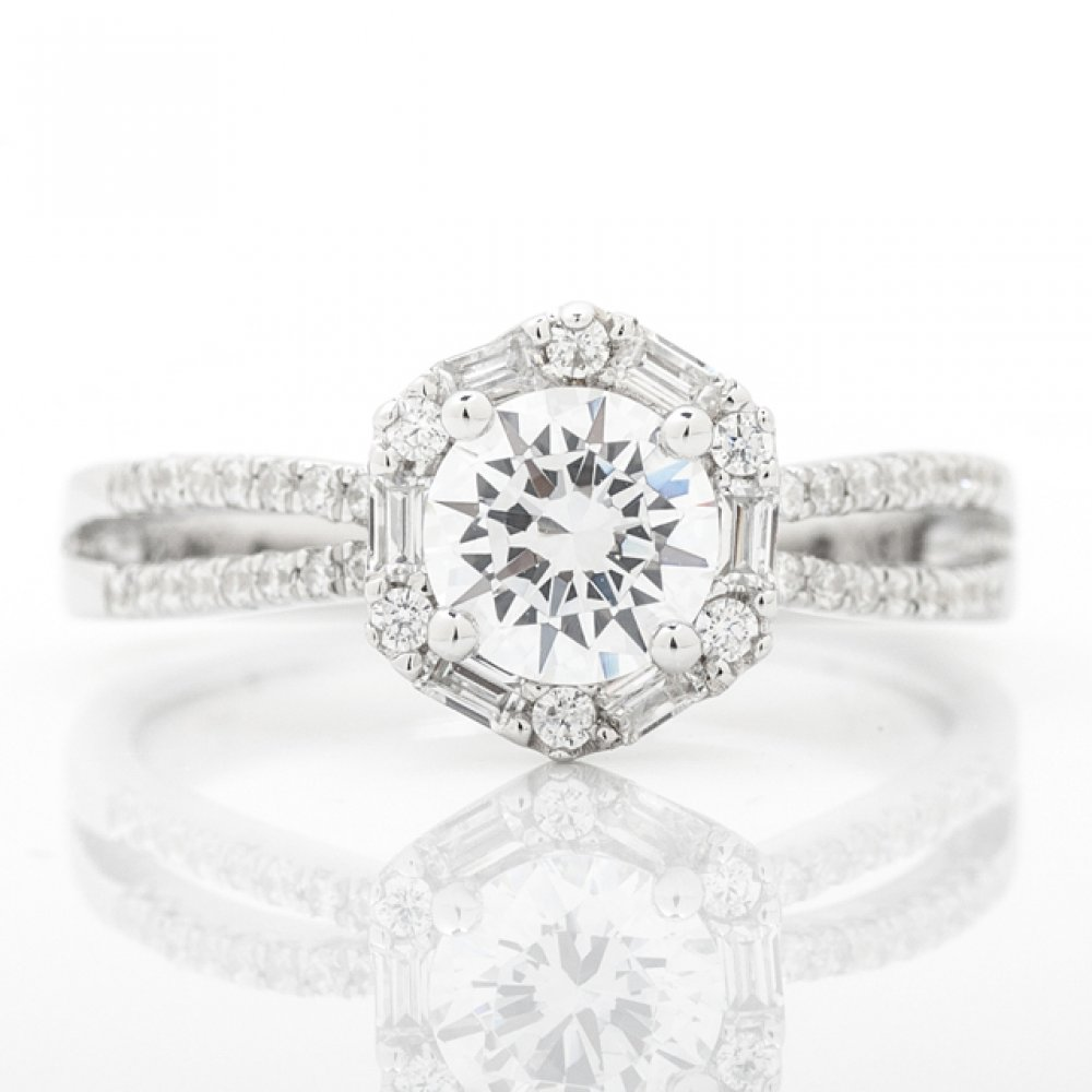 Vintage Inspired Baguette & Round Halo Engagement Ring