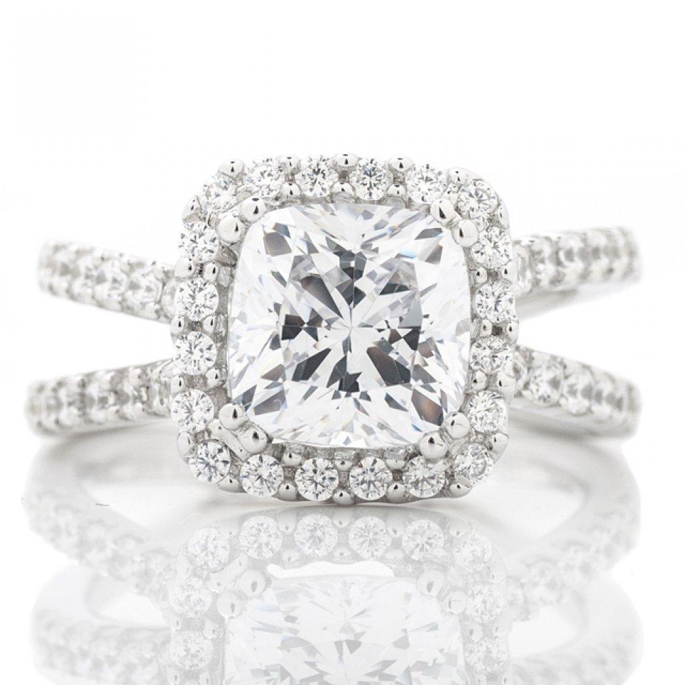 Cushion Shaped Halo Cross Shank Engagement Ring