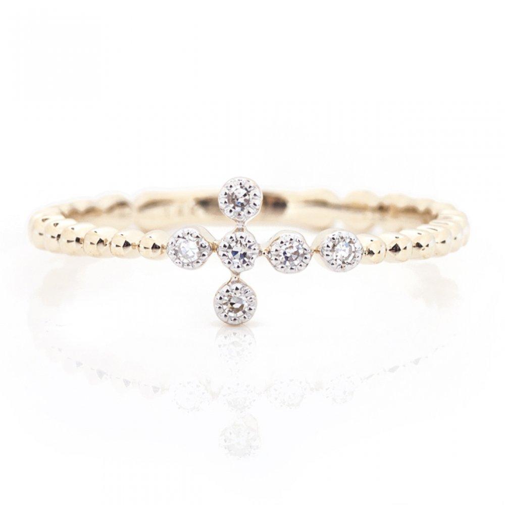 Bubble Diamond Cross Ring