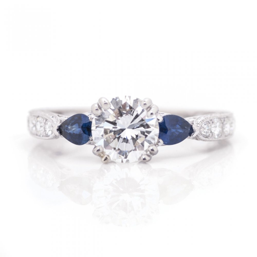 3-Stone Sapphire and Diamond Engagement Ring
