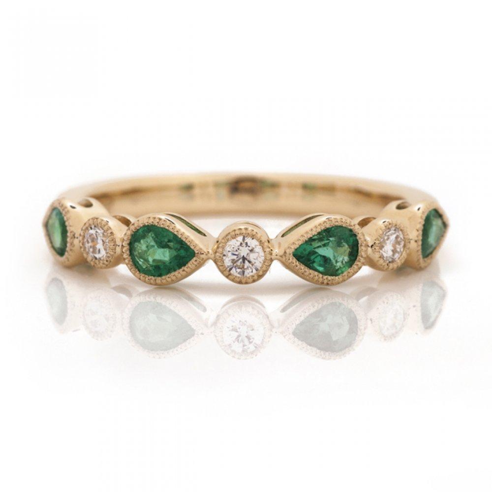 Pear Color Stone & Diamond Bezel Band