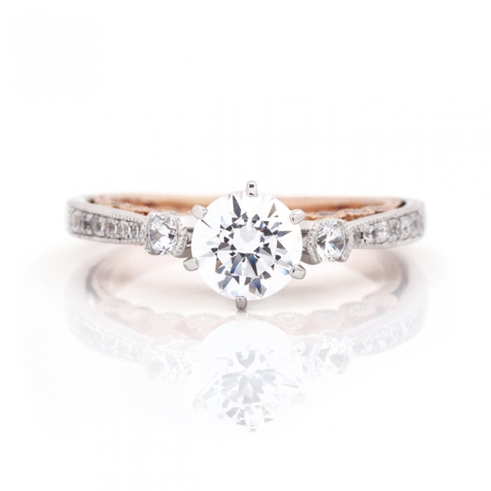 Three Stone Milgrain Engagement Ring with Two-Tone Bezel Gallery