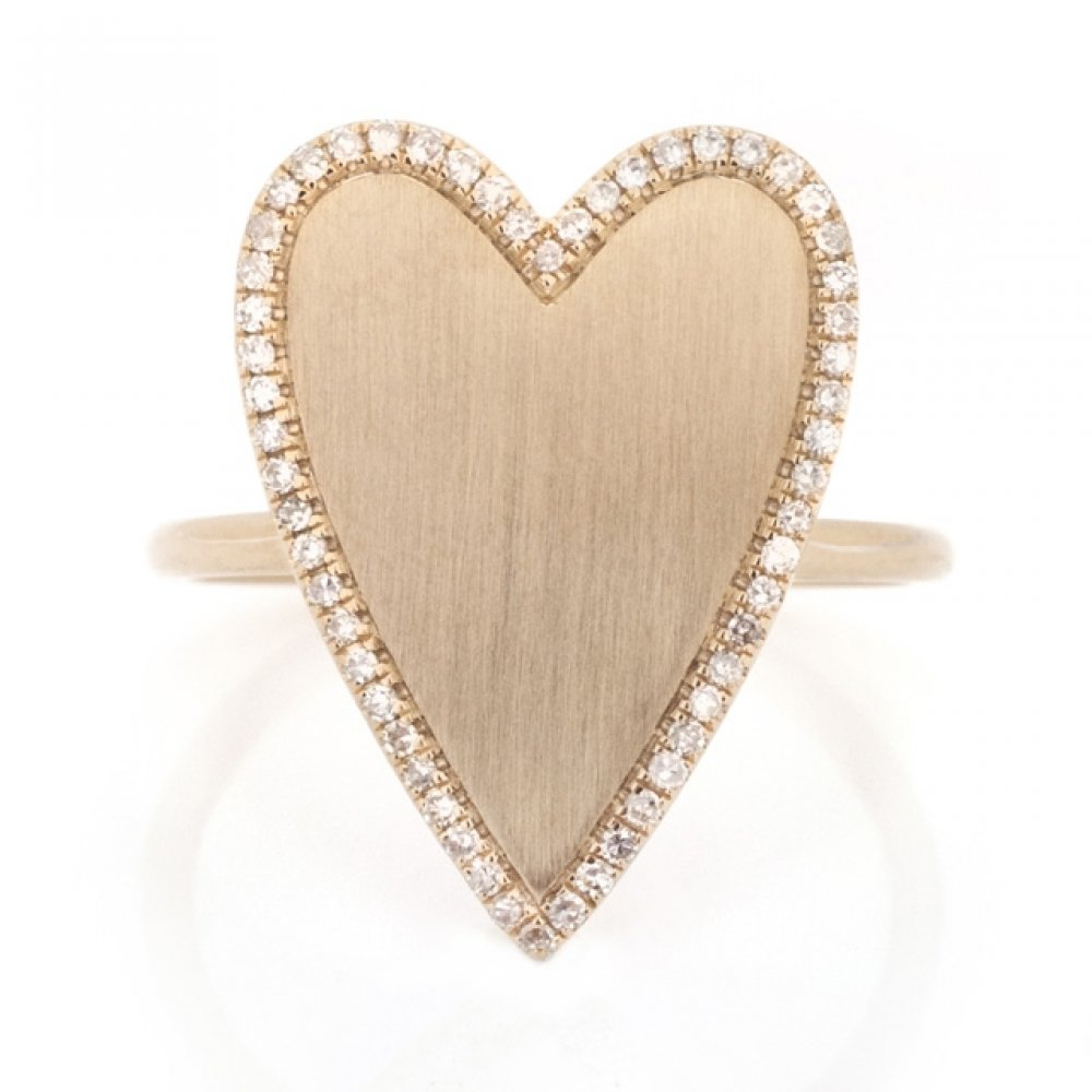 Elongated Heart Halo Diamond & Brushed Gold Ring