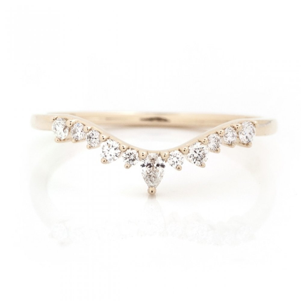 Tapered Pear & Round Diamond Nesting Ring