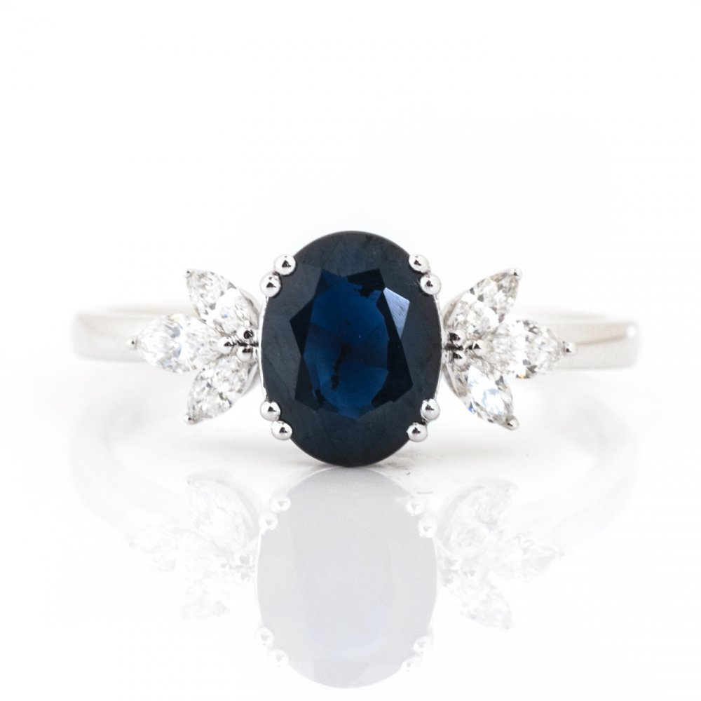 Oval Color Stone & Diamond Burst Cocktail Ring