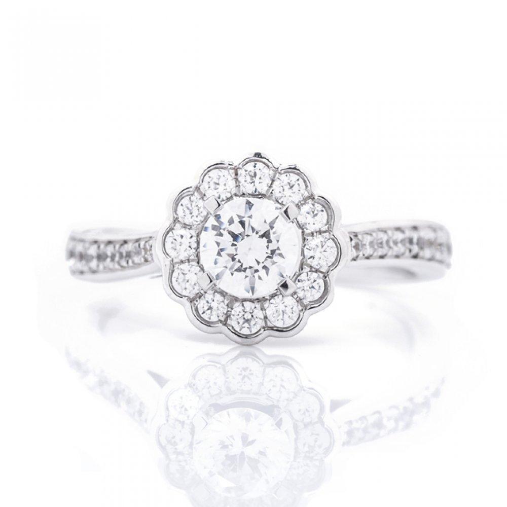 Flower Halo Engagement Ring