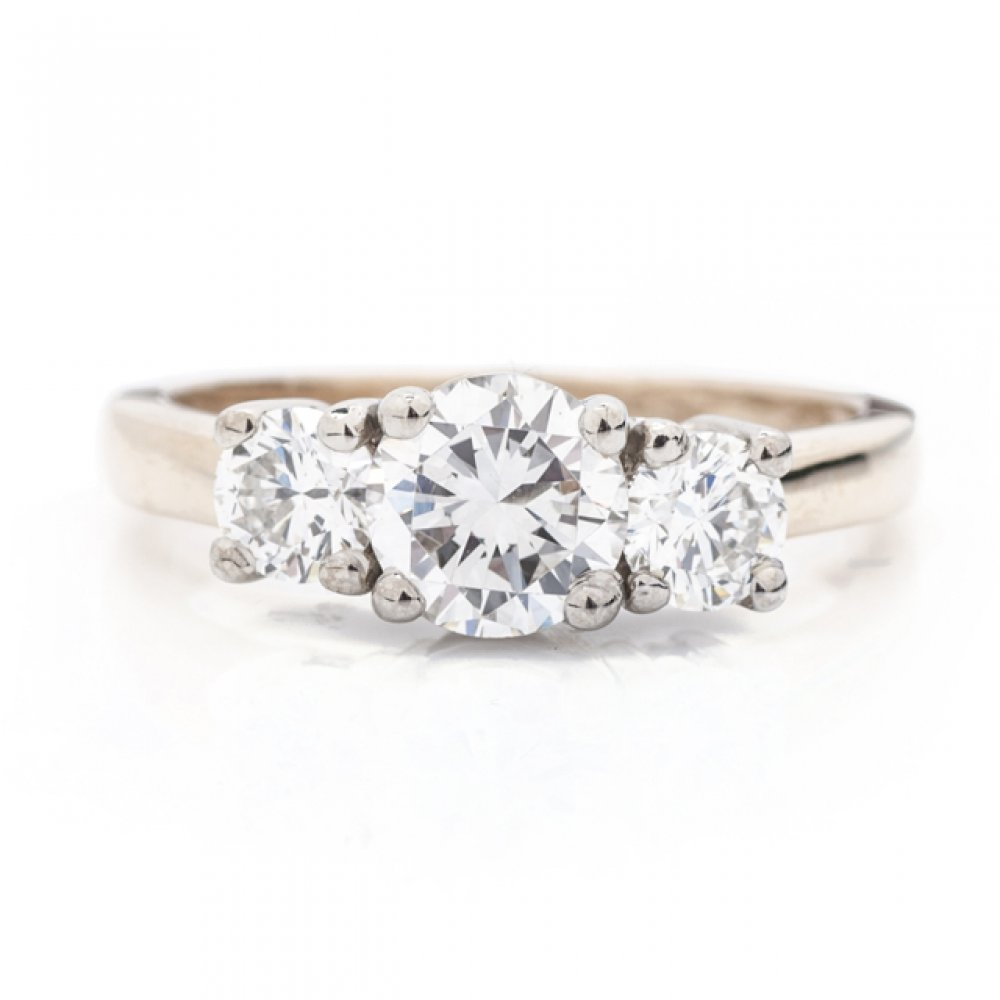 3-Stone Two Tone Engagement Ring