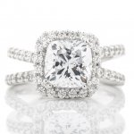 Cushion Shaped Halo Cross Shank Engagement Ring